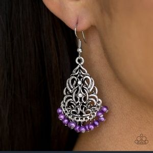 Dainty Baroque Purple Fringe Fishhook Earrings